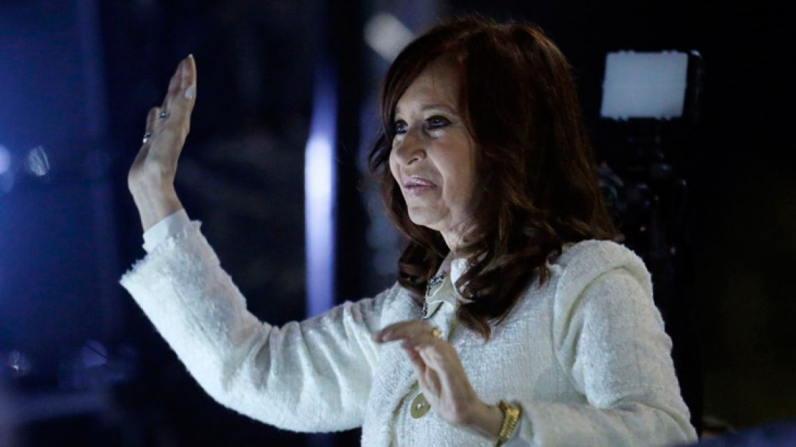 Cristina Fernández de Kirchner waves at supporters during the presentation of her book 'Sinceramente', during the 45th Buenos Aires International Book Fair in Buenos Aires, on May 9, 2019.