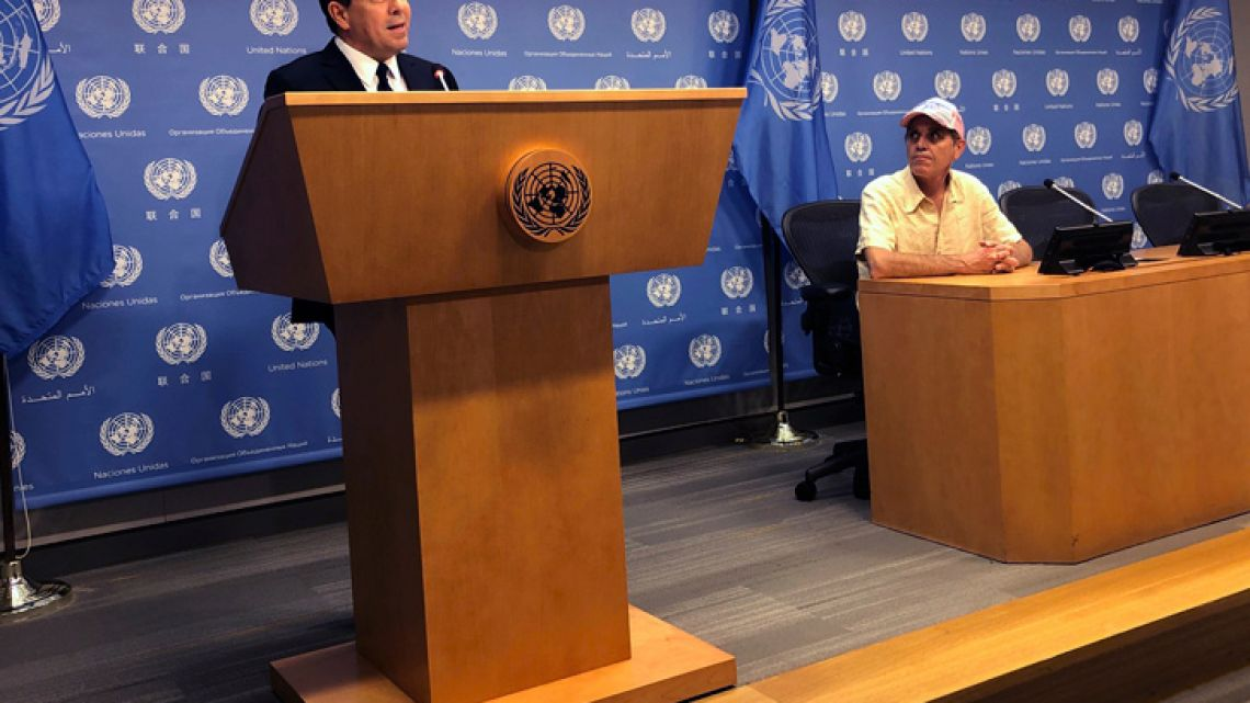 Samuel Moncada, left, Venezuelan ambassador to the United Nations, speaks during a press conference at United Nations headquarters, Wednesday, May 15, 2019.