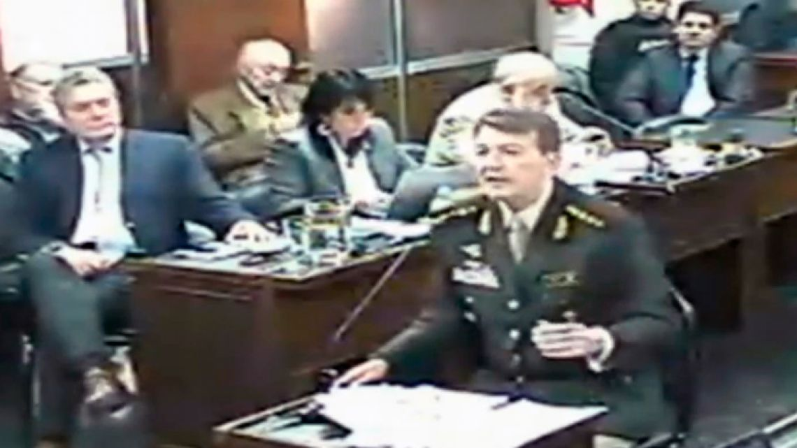 "Former Army chief César Milani giving testimony in La Rioja, as part of the trial into alleged crimes against humanity committed during the last military dictatorship. Milani expressed his ""solidarity with the family"" of Pedro Olivera, who was kidnapped and tortured."