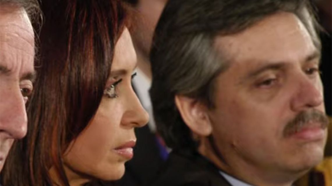 A still from a video, in which Cristina Fernández de Kirchner announces she will run as vice-presidential candidate, alongside Alberto Fernández (right).