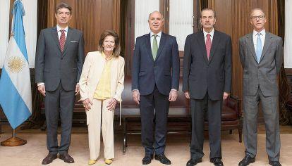Mayorías.  Los ministros peronistas de la Corte, Horacio Rosatti, Ricardo Lorenzetti y Juan Carlos Maqueda tiene mayoría sobre Helena Highton y Carlos Rosenkrantz.