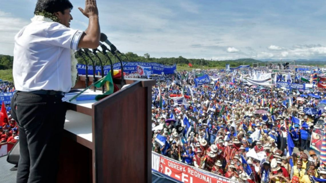 Handout photo released by the Bolivian Presidency of Bolivian President Evo Morales speaking during the launching of his campaign for re-election in Chimore, Cochabamba department, Bolivia on May 18, 2019. General elections will take place on October 20, 2019 in Bolivia.