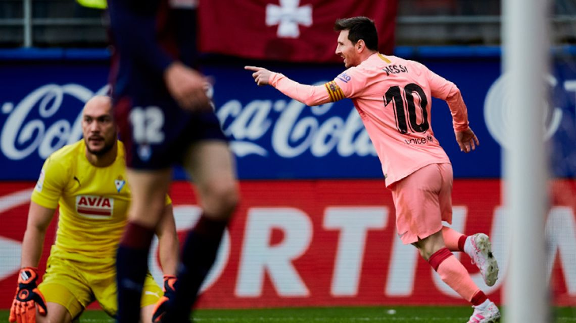 Barcelona's Lionel Messi celebrates after scoring against Eibar, during a Spanish La Liga match at the Ipurua stadium, in Eibar, northern Spain, Sunday, May 19, 2019.