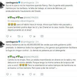 El cruce entre Camilo García y Nancy Pazos