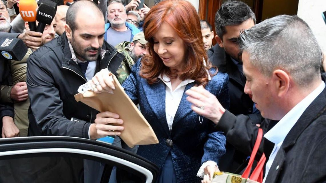 Cristina Fernández de Kirchner outside Comodoro Py courthouse in May, 2019.