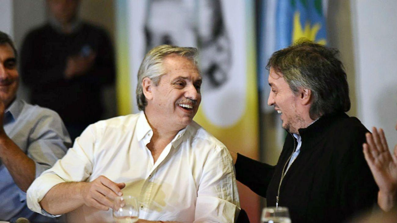 Alberto Fernández junto a Máximo Kirchner en San Antonio de Areco. (Archivo)