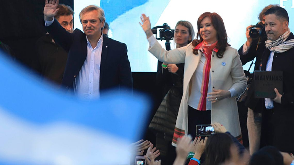 Alberto Fernández and Cristina Fernández de Kirchner held their first public event together in Merlo on Saturday, May 25, 2019.