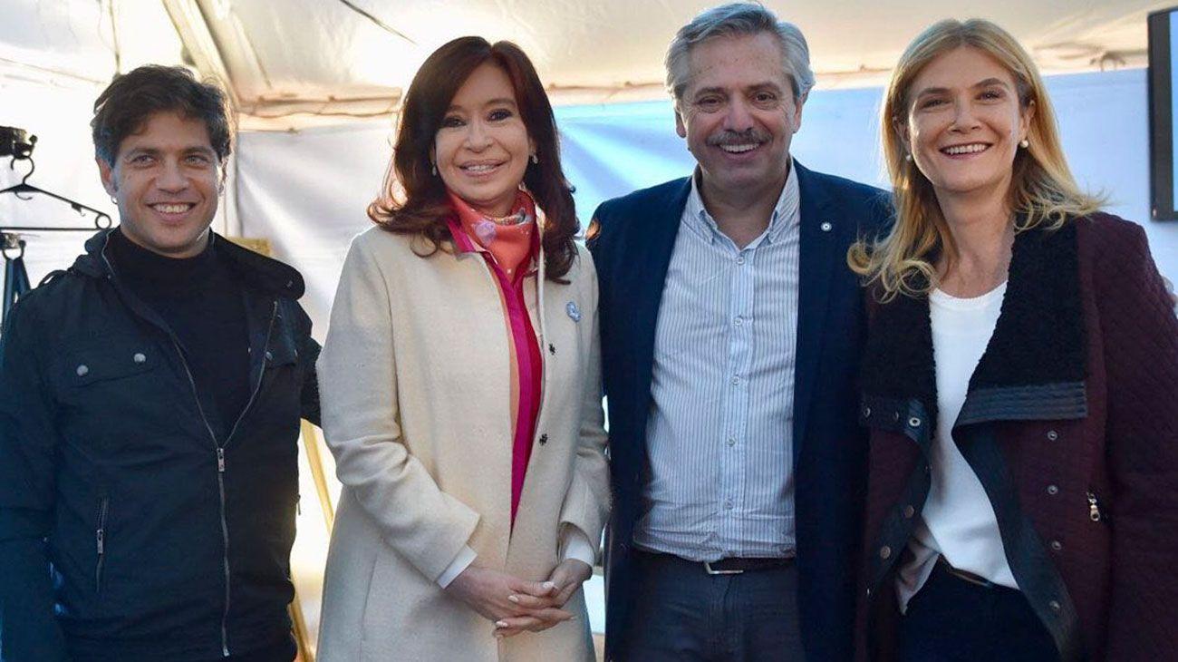 CFK con Alberto Fernández, Axel Kicillof y Verónica Magario
