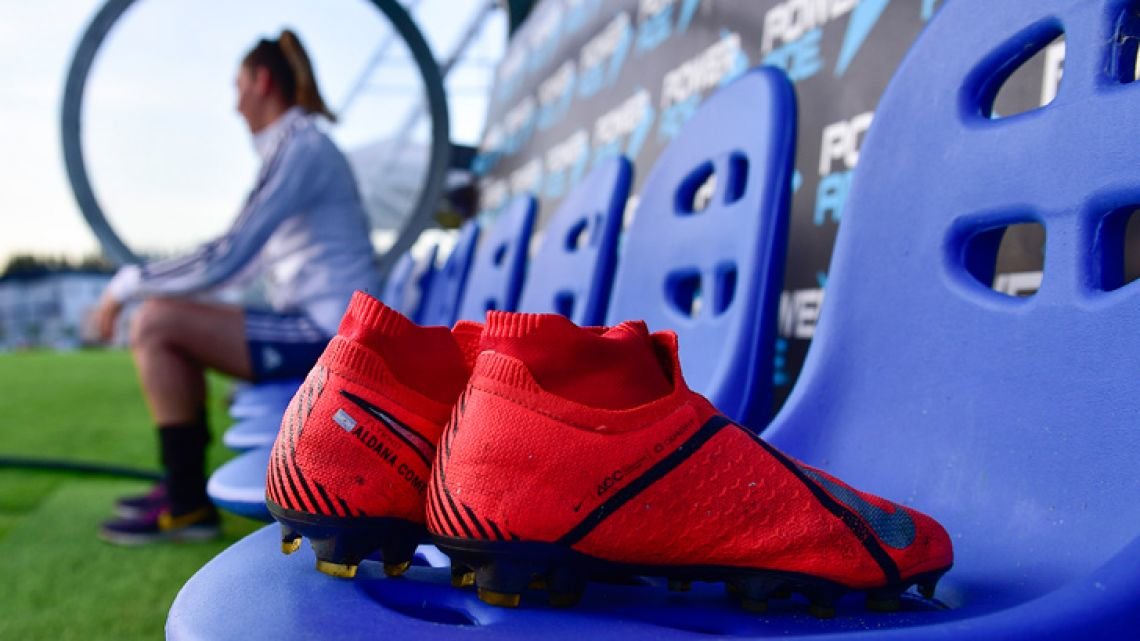 Boots belonging to Aldana Cometti sit on a bench after a training session of Argentina's national women's team, ahead of the FIFA Women's World Cup France 2019 tournament.