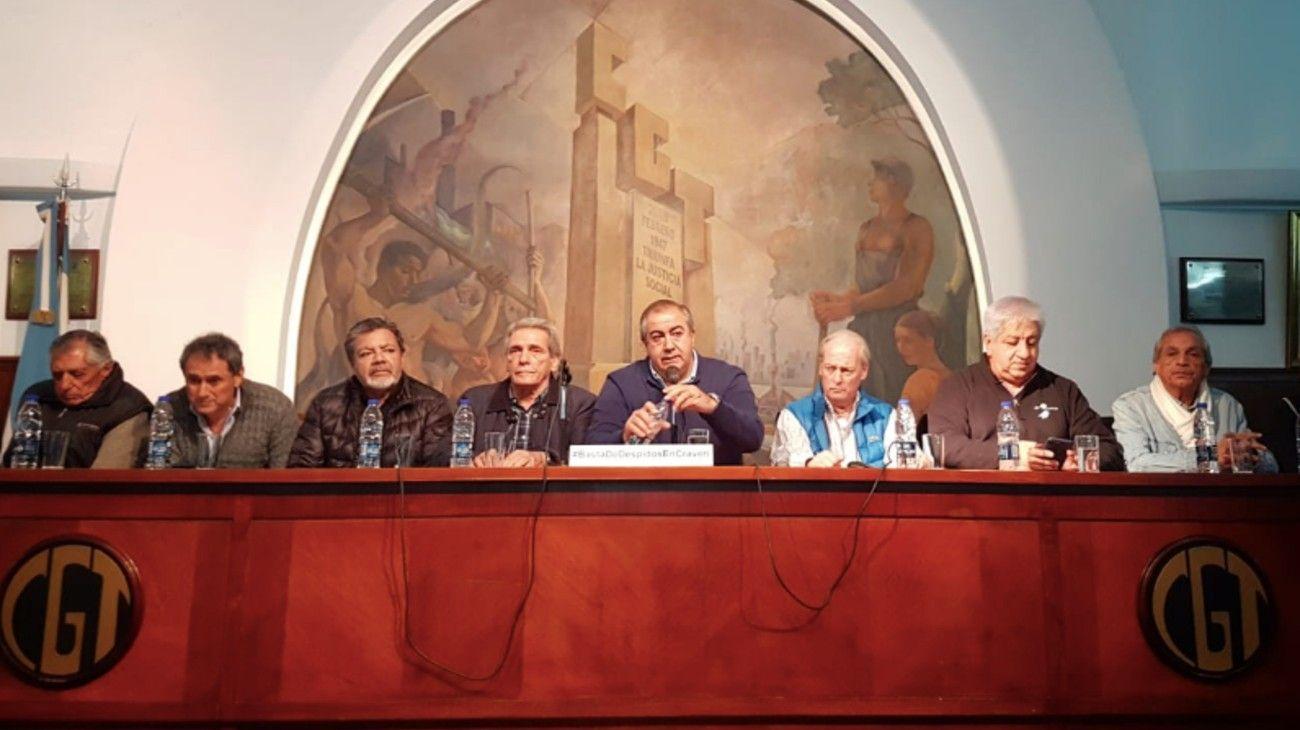 Conferencia de prensa en la sede de la CGT.