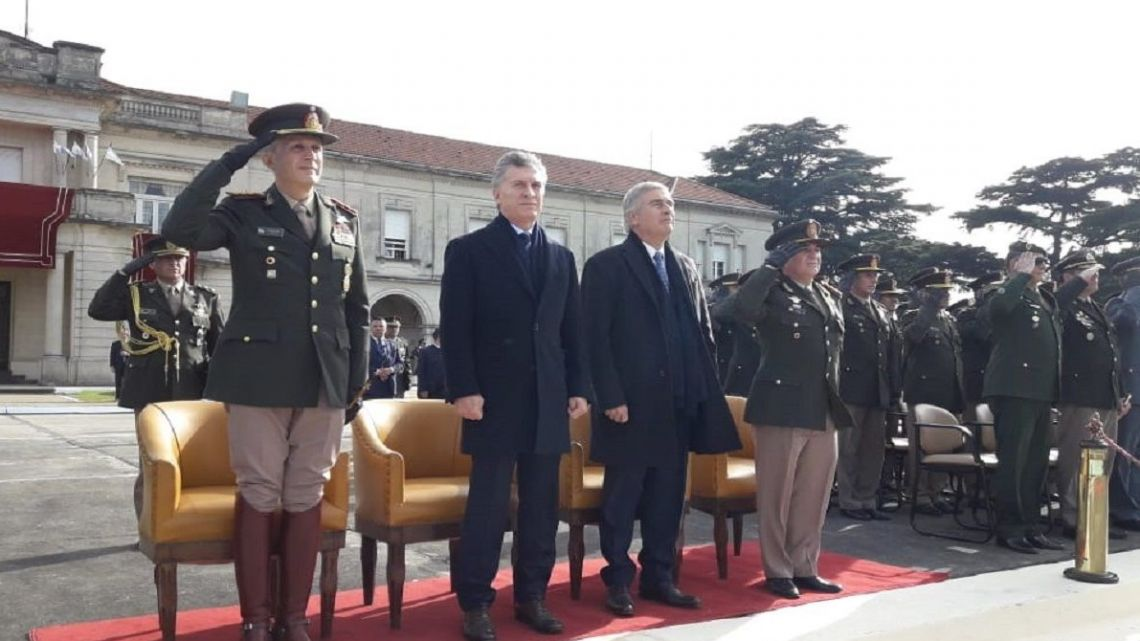 President Mauricio Macri (second left) and Defence Minister Oscar Aguad (third left) at a ceremony to conmemorate the Army.