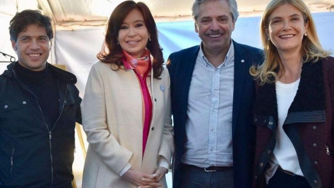 Left to right: Axel Kicillof, Cristina Fernández de Kirchner, Alberto Fernández and Verónica Magario.