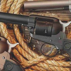 Revólver Ruger Wrangler de simple acción en calibre .22 LR.