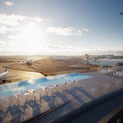 Piscina con vista a las pistas de aterrizaje del aeropuerto JFK. La ex terminal de TWA ahora es un hotel de lujo.
