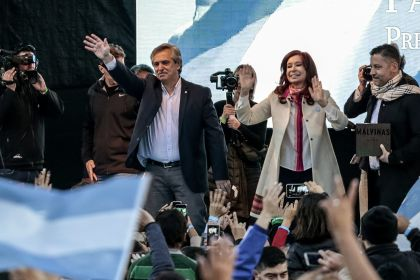 Presidential Candidate Alberto Fernandez And Running Mate Cristina Fernandez De Kirchner Hold First Rally