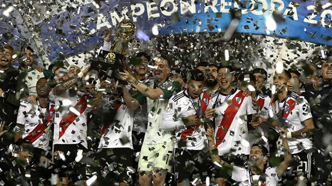 River Plate celebrate clinching the Recopa Sudamericana title.