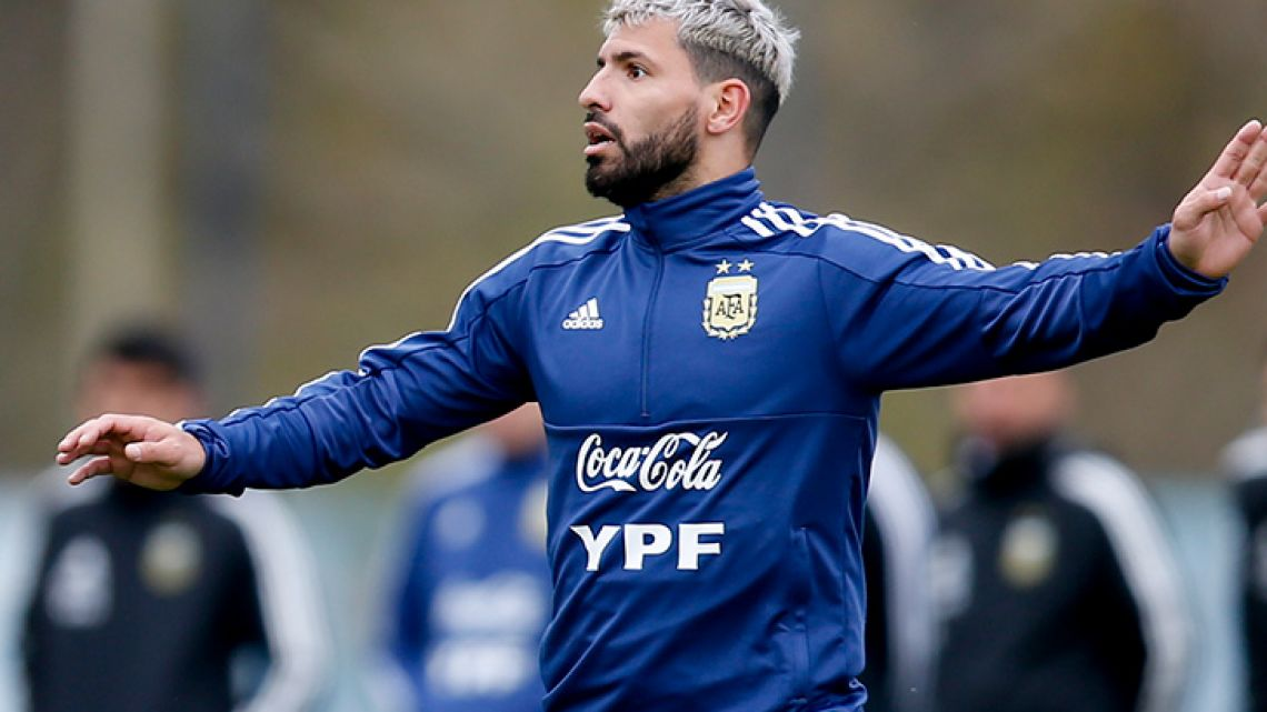 Sergio Agüero, pictured during a training session ahead of the Copa América in neighbouring Brazil.