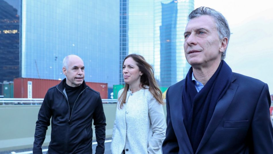Los 3 candidatos. Horacio Rodriguez Larreta, Maria Eugenia Vidal y Mauricio Macri.