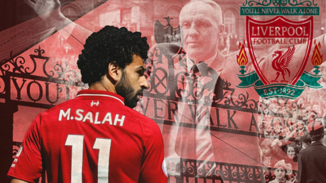 The famous entrance to Anfield, Bill Shankly -master of the quip- and Salah.