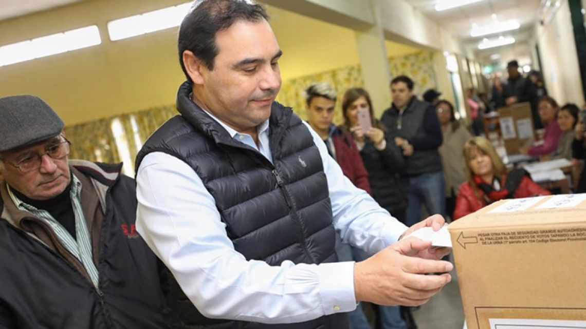 Governor of Corrientes Gustavo Valdés votes in the province's mid-term elections on June 2, 2019.