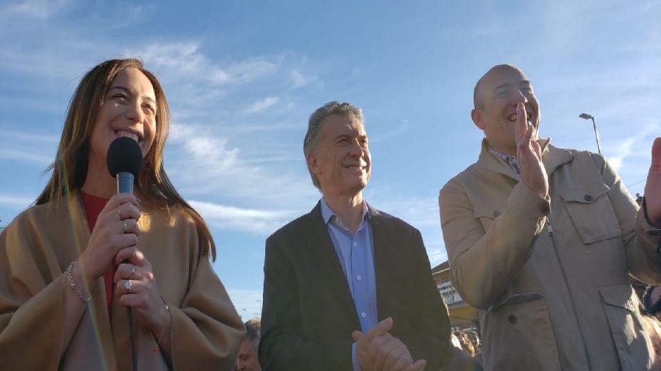 Mauricio Macri junto a la gobernadora María Eugenia Vidal y el intendente Martiniano Molina.