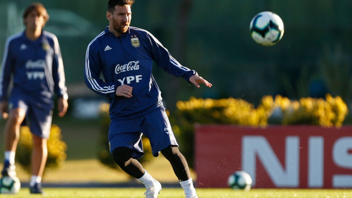 Lionel Messi attends a training session at the Argentine Football Association's (AFA) headquarters in Ezeiza, Buenos Aires Province.