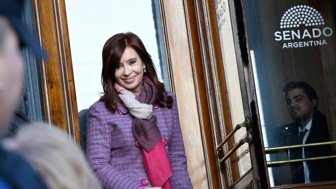 Former president Cristina Fernández de Kirchner, pictured at the Senate in June 2019.
