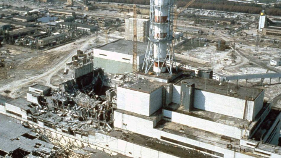 Viste aérea del reactor destruido en Chernobyl.