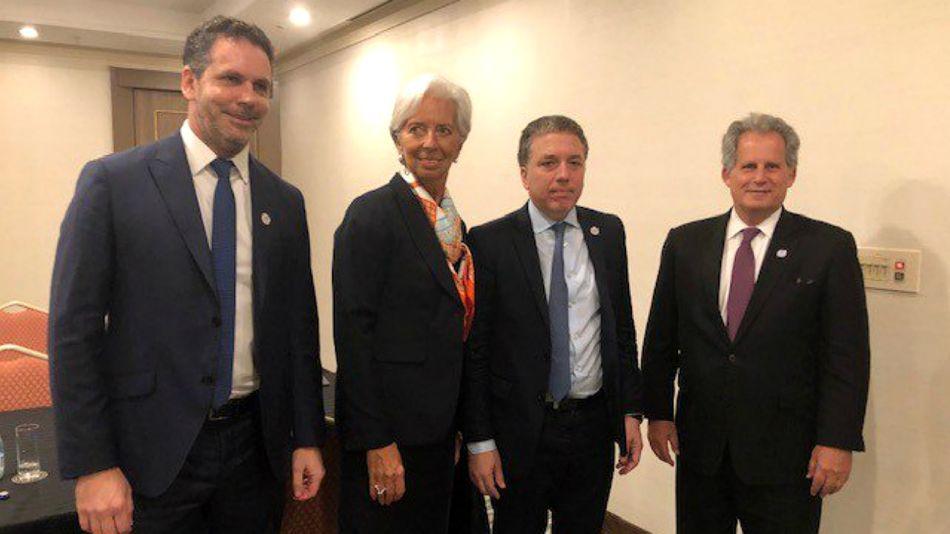 Christine Lagarde, junto a Nicolás Dujovne y Guido Sandleris, en Japón.