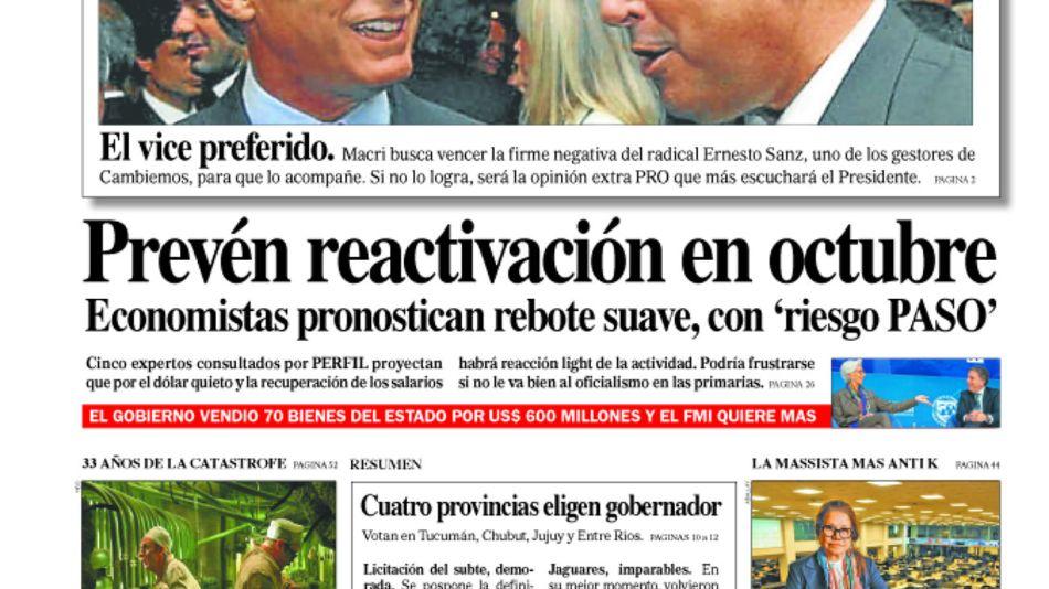 Tapa de la edición 1.419 del Diario PERFIL, domingo 9 de junio de 2019.