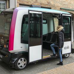 Los buses autónomos que la compañía ferroviaria Deutsche Bahn está probando.