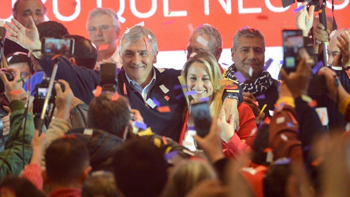 Jujuy Province Governor Gerardo Morales celebrates winning re-election on Sunday.