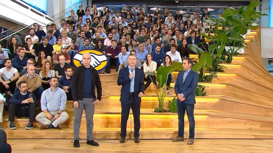 Mauricio Macri en el acto de inauguración del Nuevo Centro de Desarrollo de la empresa Mercado Libre.
