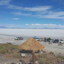 Estacionando en la Isla Incahuasi, donde se agrupan todos los viajeros.