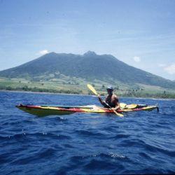 Horacio Giaccaglia en uno de los pocos momentos tranquilos de la travesía por el Mar de las Antillas.
