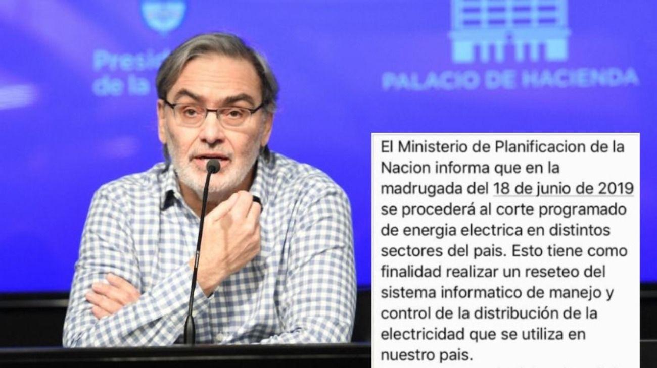 Desde la Secretaría de Energía, a cargo de Gustavo Lopetegui (foto), desmienten la información que circula sobre cortes programados de suministro eléctrico.