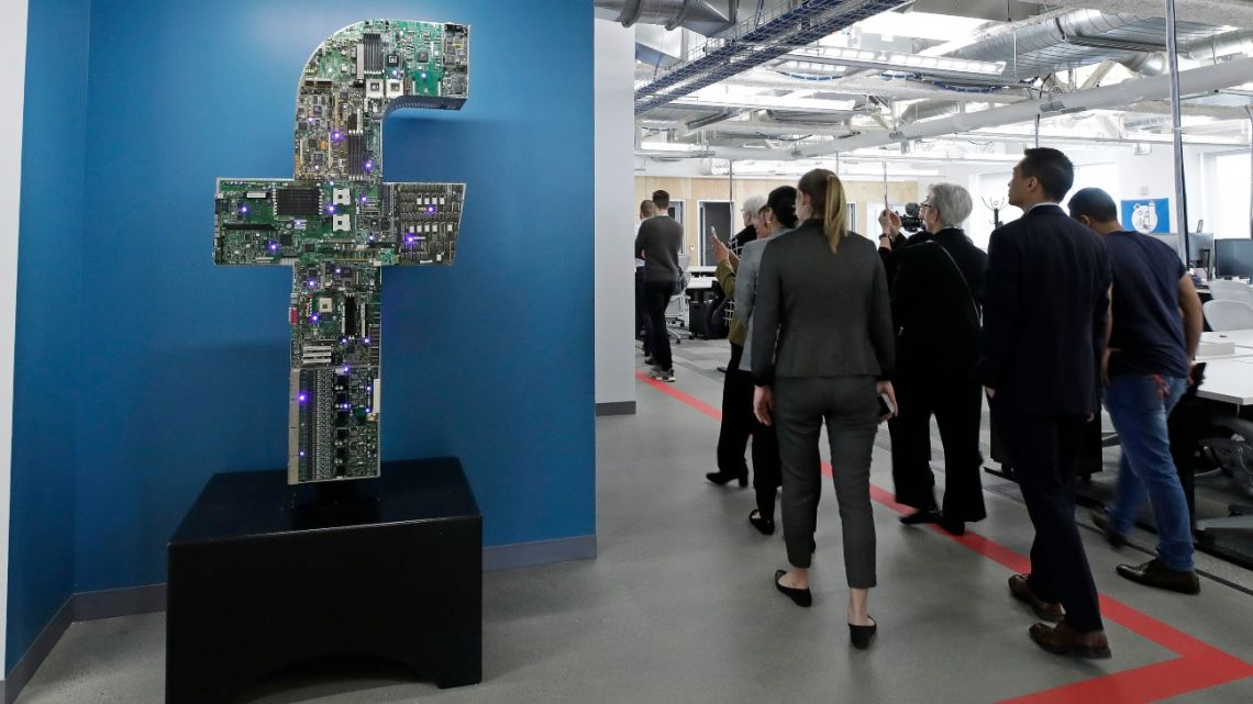 Media and guests tour Facebook's new 130,000-square-foot offices on Jan. 9, 2019.