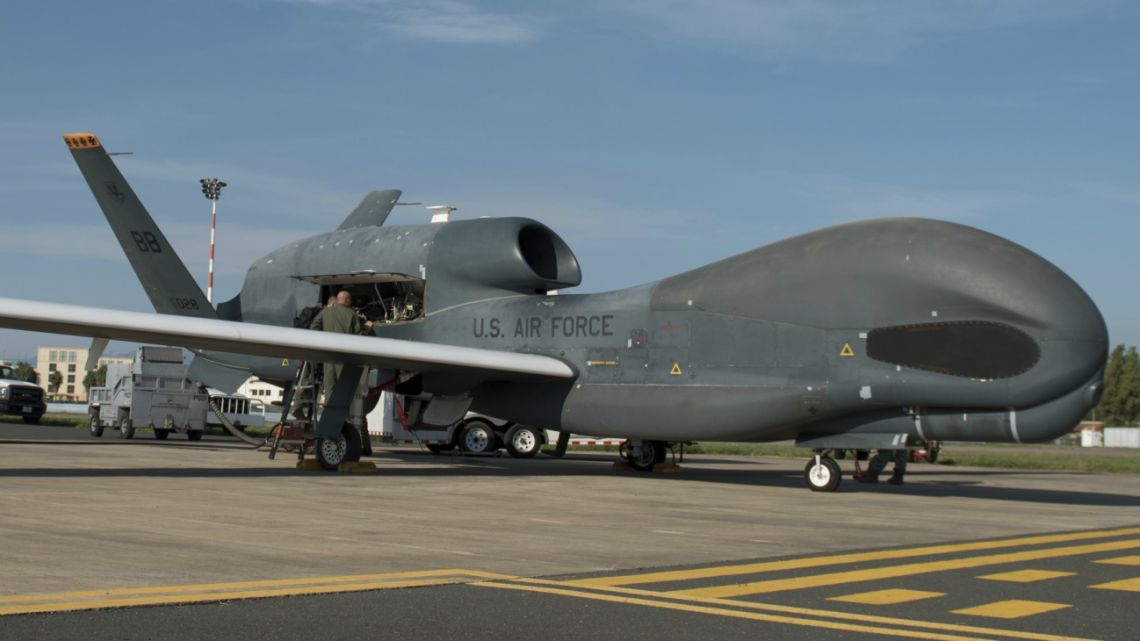 Members of the 7th Reconnaissance Squadron prepare to launch an RQ-4 Global Hawk at Naval Air Station Sigonella, Italy in 2018.