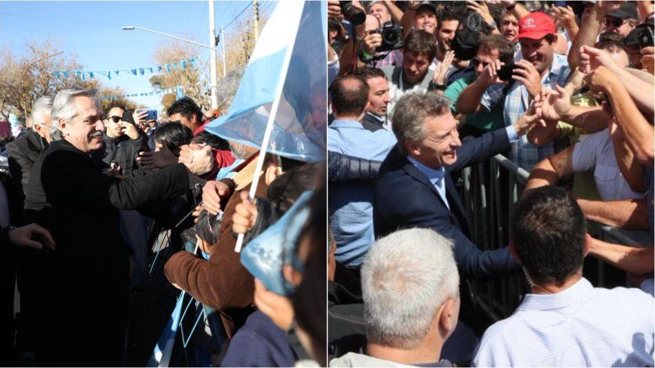 Los candidatos Alberto Fernández y Mauricio Macri en actos.