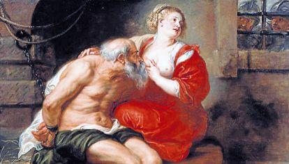 """Arte. En esta obra de Rubens sobre Cimón y su hija, """"el pecho adquiere otro sentido, ni infantil ni erótico, virtuoso""""."""