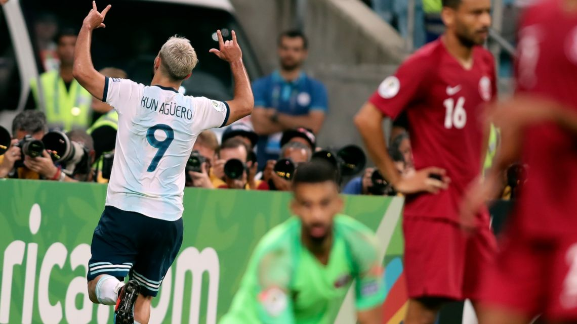 Sergio Aguero celebrates after scoring his side's 2nd goal during a Copa America soccer match against Qatar in Porto Alegre, Brazil, Sunday, June 23, 2019.
