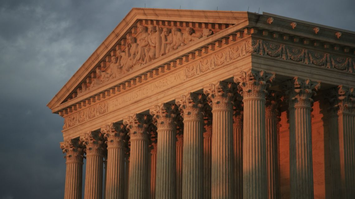 In this Oct. 4, 2018, photo, The U.S. Supreme Court is seen at sunset in Washington.