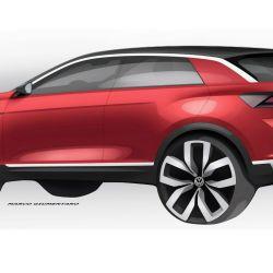 Boceto del VW T-Roc europeo, modelo en el que se inspiraría el nuevo SUV brasileño basado en el Polo.