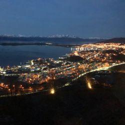 Vista general de Ushuaia desde el complejo Arakur.