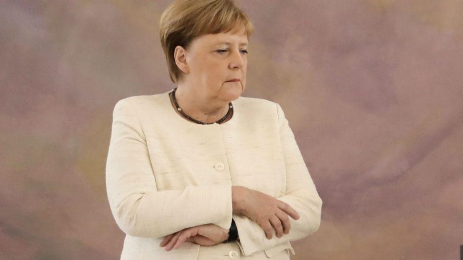Angela Merkel en un acto junto al presidente federal alemán, Frank Walter Steinmeier, en Berlín.