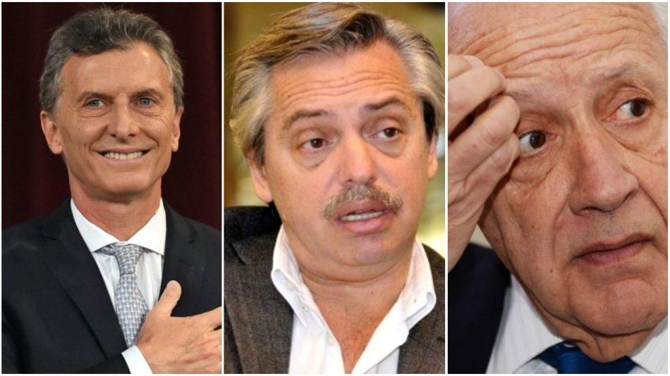 Mauricio Macri, Alberto Fernández y Roberto Lavagna.