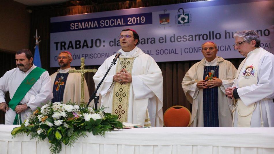 """Misa celebrada durante la Semana Social 2019 bajo el lema: """"Trabajo: clave para el desarrollo humano integral""""."""