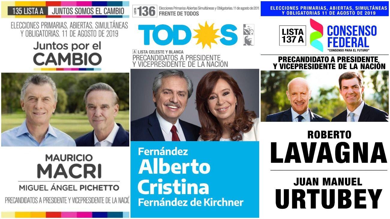 Las boletas de los candidatos presidenciales.