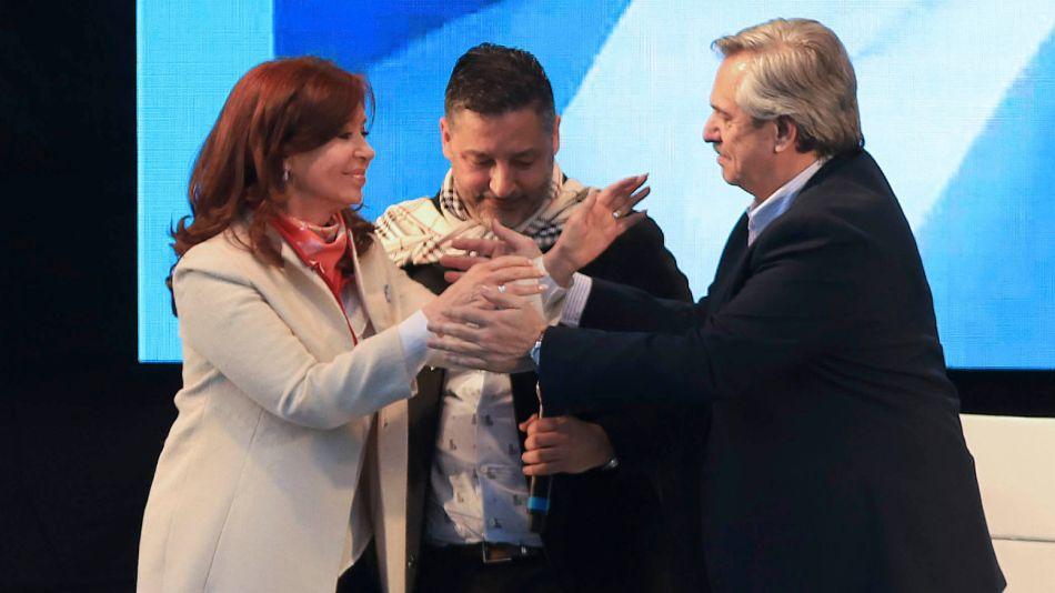 Alberto Fernández y Cristina Kirchner en su primer acto como candidatos en Merlo.
