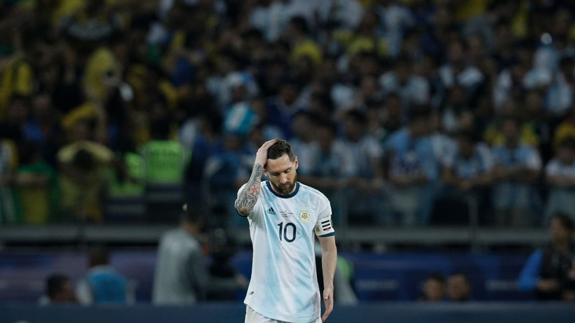 Lionel Messi reacts during a Copa America semifinal soccer match at Mineirao stadium in Belo Horizonte, Brazil, Tuesday, July 2, 2019.